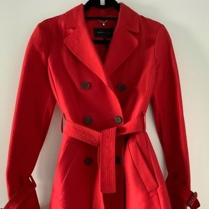 BCBG Red Trench Coat Size S